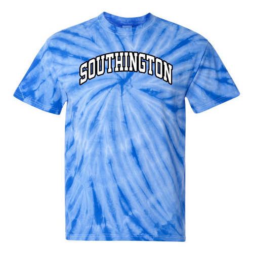Southington Royal Tie Dye T-Shirt with White/Black Arched Logo