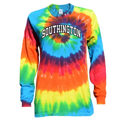Southington Rainbow Tie Dye Long Sleeve with White/Black Arched Logo