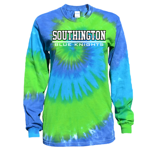 Southington Blue Green Tie Dye Long Sleeve with Knights Logo