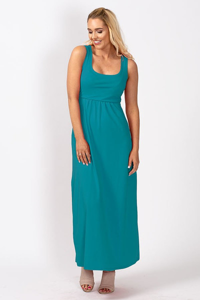 Organic Nursing Maxi Tank Dress - Summer Blue