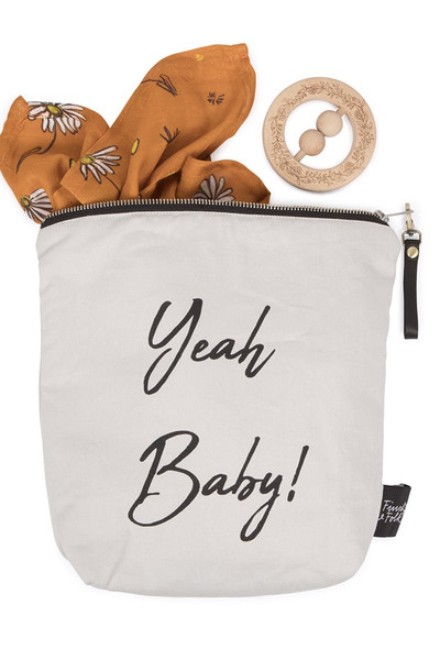 "Baby Wet Bag - ""Yeah Baby"" Organic Cotton Waterproof Pouch"
