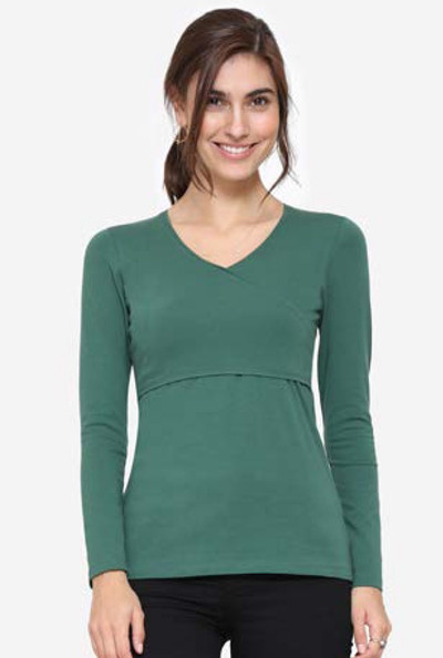Organic Cross Over V Neck Long Sleeve Breastfeeding Top - Forest Green