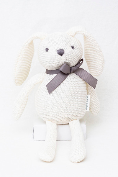Organic Soft Knitted Baby Bunny Toy - White