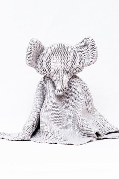 Organic Soft Knitted Baby Comforter - Grey Elephant