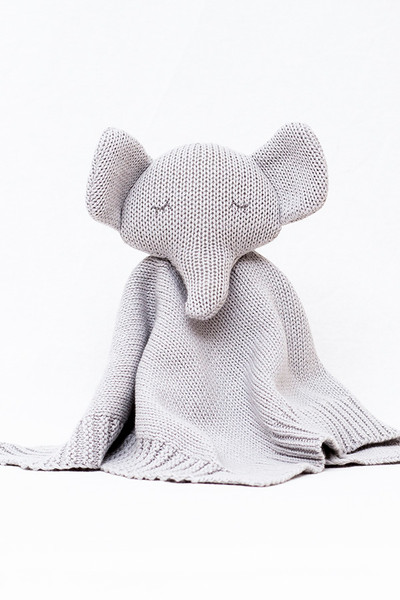 Organic Soft Knitted Baby Comforter - Grey Elephant