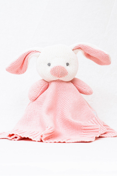 Organic Soft Knitted Baby Comforter - Pink Rabbit