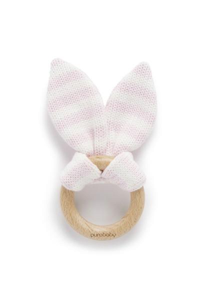 Natural Timber Bunny Ear Teething Ring - Pink Stripe