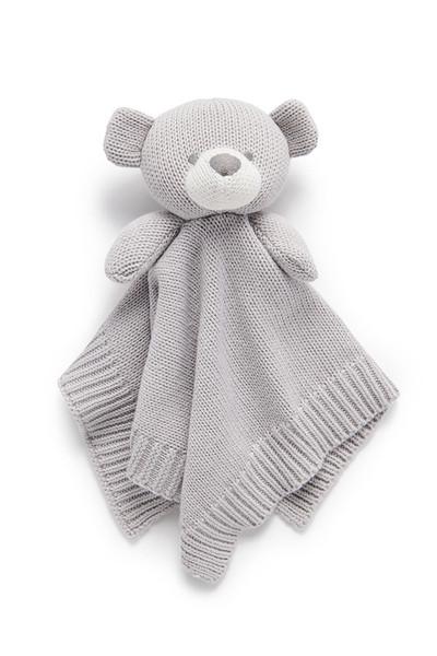 Baby Comforter - Pure Organic Cotton - Grey Bear