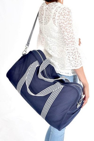 Hospital Bag for Mum and Baby - Navy Overnight Bag in Cotton Canvas
