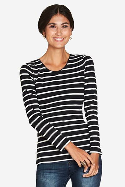 Organic Round Neck Long Sleeve Breastfeeding Top - Black Stripe