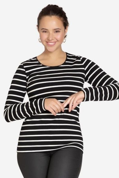 Organic Long sleeve breastfeeding top - black stripe