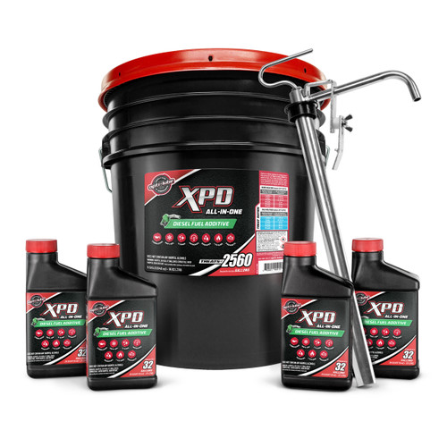 Opti-Lube XPD All-In-One Diesel Fuel Additive: 5 Gallon Pail with Heavy Duty Accessories (1 HD Hand Pump and 4 Empty 8 Ounce Bottles)