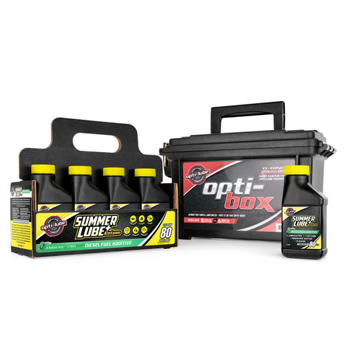 Opti-Lube Summer Lube +Cetane Diesel Fuel Additive: 4oz 8 Pack with Opti-Box, Treats up to 80 Gallons per 4oz Bottle