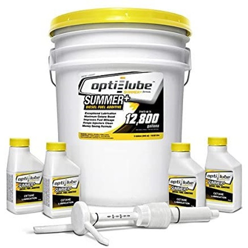 Opti-Lube Summer Lube +Cetane Diesel Fuel Additive: 5 Gallon Pail with Accessories (Hand Pump, 4 Empty 4oz. Bottles) Treats up to 12,800 Gallons