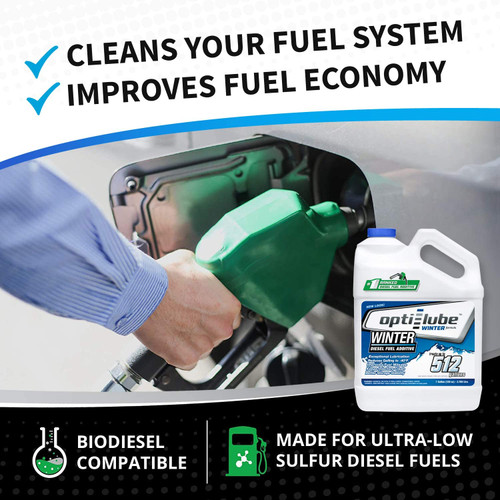 Opti-Lube Winter Anti-Gel Diesel Fuel Additive: 1 Gallon with Accessories, (1 Plastic Hand Pump and 2 Empty 8oz Bottles) Treats up to 512 Gallons