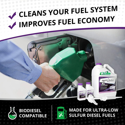 Opti-Lube XL Xtreme Lubricant Diesel Fuel Additive: 1 Gallon with Accessories (HDPE Plastic Hand Pump and 2 Empty 4oz Bottles), Treats up to 1,280 Gallons