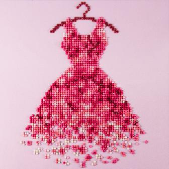 """Diamond Art Kit 8""""x 8"""" Beginner Red Dress"""
