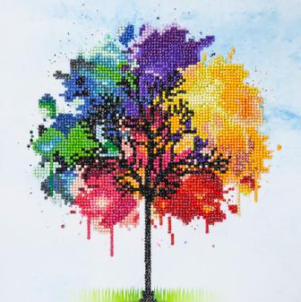 "Diamond Art Kit 12""x 12"" Intermediate Rainbow Tree"