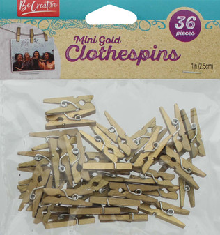 "Leisure Arts Clothespins Wood 1"" Mini Gold 36pc"