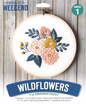 """Leisure Arts Kit Make In A Weekend Embroidery 6"""" Wildflowers"""