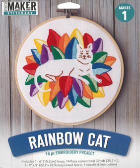 """Leisure Arts Kit Mini Maker Embroidery 6"""" Rainbow Cat"""