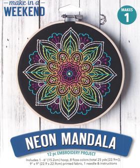 "Leisure Arts Kit Make In A Weekend Embroidery 6"" Neon Mandala"