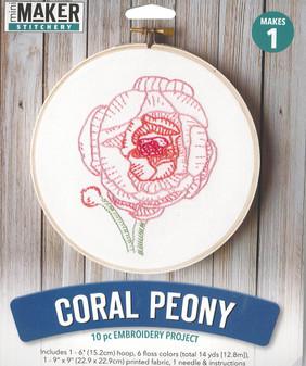 "Leisure Arts Kit Mini Maker Embroidery 6"" Coral Peony"