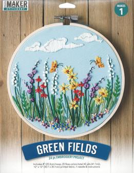 "Leisure Arts Kit Mini Maker Embroidery 8"" Green Fields"