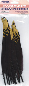 Leisure Arts Feathers Painted Black/Gold 10pc