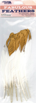 Leisure Arts Feathers Painted White/Gold 10pc