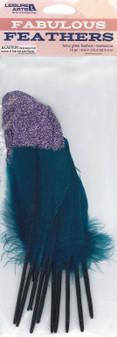 Leisure Arts Feathers Glitter Teal/Aurora 10pc