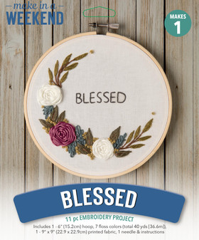 """Leisure Arts Kit Make In A Weekend Embroidery 6"""" Blessed Floral"""