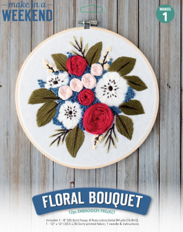 """Leisure Arts Kit Make In A Weekend Embroidery 8"""" Floral Bouquet"""