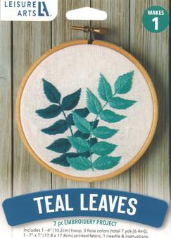 """Leisure Arts Kit Mini Maker Embroidery 4"""" Teal Leaves"""