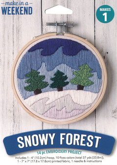 """Leisure Arts Kit Make In A Weekend Embroidery 4"""" Snowy Forest"""