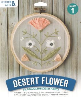 """Leisure Arts Kit Mini Maker Embroidery 6"""" Desert Flower"""