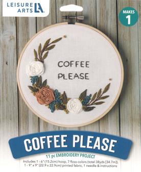 "Leisure Arts Kit Mini Maker Embroidery 6"" Coffee Please"