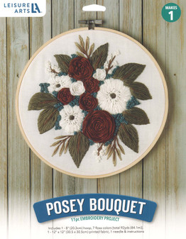 """Leisure Arts Kit Mini Maker Embroidery 8"""" Posey Bouquet"""