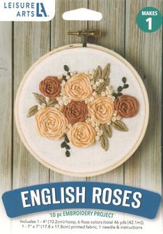 """Leisure Arts Kit Mini Maker Embroidery 4"""" English Roses"""