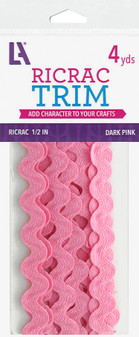 "Leisure Arts Trim Ric Rac 1/2"" Dark Pink 4yd"