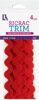 "Leisure Arts Trim Ric Rac 11/16"" 4yd Red"