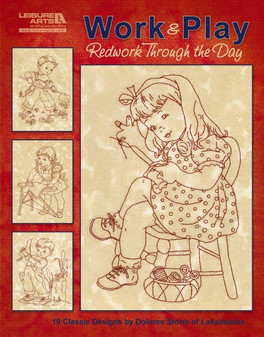 Leisure Arts Work & Play Redwork Through the Day Embroidery Book