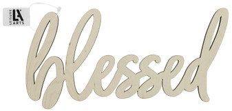 """Leisure Arts Wood Word Large 12.75""""x 6"""" Blessed"""