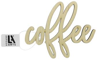 """Leisure Arts Wood Word Medium 5.75""""x 4.75"""" Coffee"""