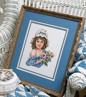 ePattern Girl with Pansies Cross Stitch Pattern