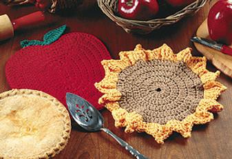 ePattern Crochet Apple and Sunflower Hotpads