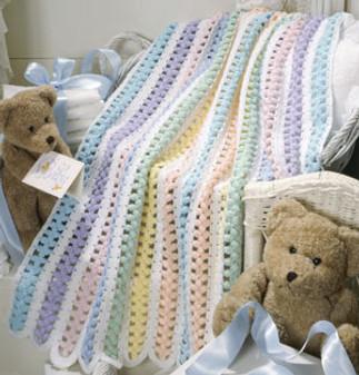 ePattern Beary Sweet Stripes Baby Afghan