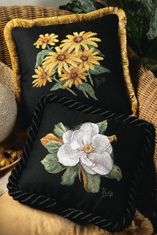 ePattern Paula Vaughan's Black-eyed Susans & Magnolia Pillows Cross Stitch Pattern