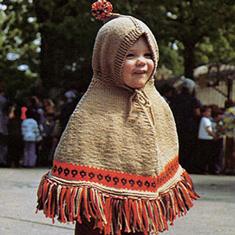 ePattern Hooded Poncho