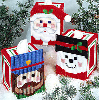 ePattern Cheery Faces Tissue Box Cover in Plastic Canvas